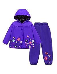 LZH Toddler Girls Raincoat Waterproof Coat Jacket Pants Suit with Hooded