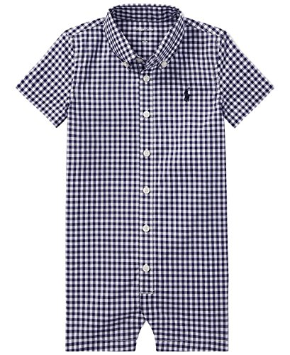Shortall Boys Gingham (RALPH LAUREN Baby Boy Gingham Cotton (Navy/White, 9 Months))