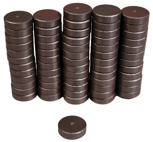 "Creative Hobbies Ceramic Industrial Magnets -11/16 Inch (.709) Round Disc - 3/16"" THICK (.198"" or 5mm) - Ferrite Magnets Bulk for Crafts, Science&hobbies - Grade 5 - 100 pcs / box!"