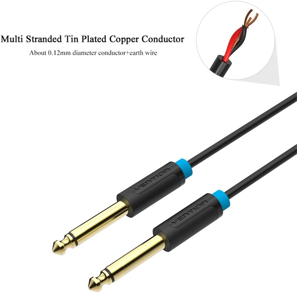 Stereo Speaker 6.35mm Male Record Line VENTION 6.35mm to 6.35mm Jack Mono to Mono Audio Cable for Mixer 3ft//1m Amplifier Electric Guitar