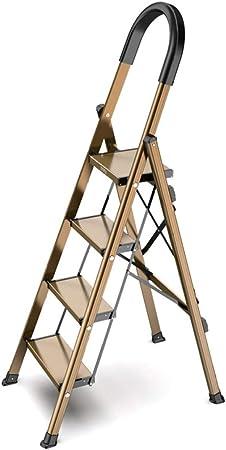 JLDN Escalerilla, 4 Peldaños Escalera Plegable Escalera portátil Stepladder con Apoyabrazos Resistente y Ancha Antideslizantes Multiusos,Champagne: Amazon.es: Hogar