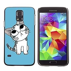 Paccase / SLIM PC / Aliminium Casa Carcasa Funda Case Cover - Cute Blue Cat Kitten - Samsung Galaxy S5 SM-G900