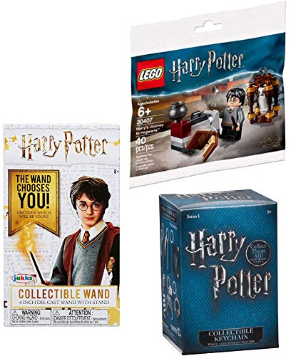 LEGO Spells & Wands Harry Potter Brick Set Journey to Hogwarts Building with Hedwig Mini Figure Bundled with Die-Cast Wizard Wand Box & Blind Collectible Keychain