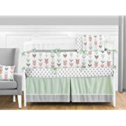 Sweet Jojo Designs 9-Piece Grey, Coral and Mint Woodland Arrow Crib Bed Bedding Set with Bumper for a Newborn Baby Girl