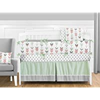 Grey, Coral and Mint Woodland Arrow 9 piece Crib Bed Bedding Set with Bumper ...