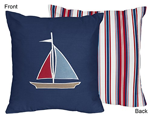 - Sweet Jojo Designs Nautical Nights Sailboat and Red, White, and Blue Stripes Decorative Accent Throw Pillow