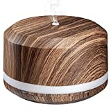 Aromatherapy Diffusers, 450ML Ultrasonic Essential Oil Diffuser Wood Grain for Large Room with Adjustable Mist Mode, 4 Timer Settings and 8 Colorful Light - LUSCREAL
