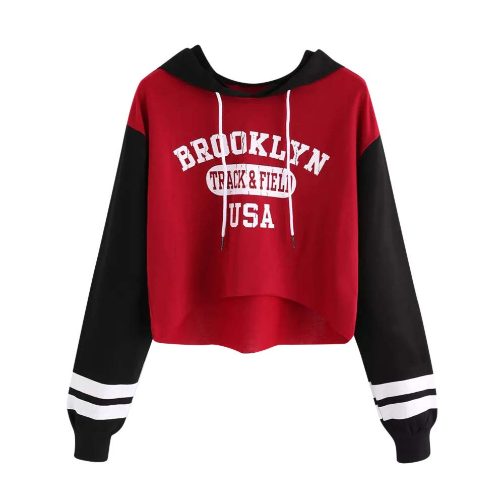 Musheng Long Sleeve Hoodie Sweatshirt, Womens Long Sleeve Letter Sweatshirt Pullover Hoodie Tops Blouse Casual Outdoor Sport Coats