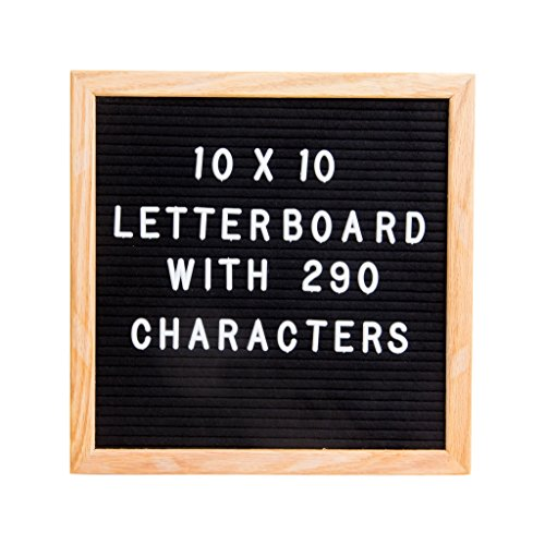 Letterboard - Premium Black Felt, 10''x10'' Oak Frame with 290 White Letters and storage bag by MiCasa Home Solutions