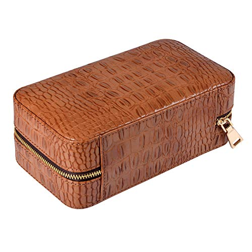 $63.99 antique humidor JTYX Leather Cigar Case Portable Travel Cedar Solid Wood Cigars Humidor can Accommodate 6,Brown,10.9X19.3X8.4CM 2019