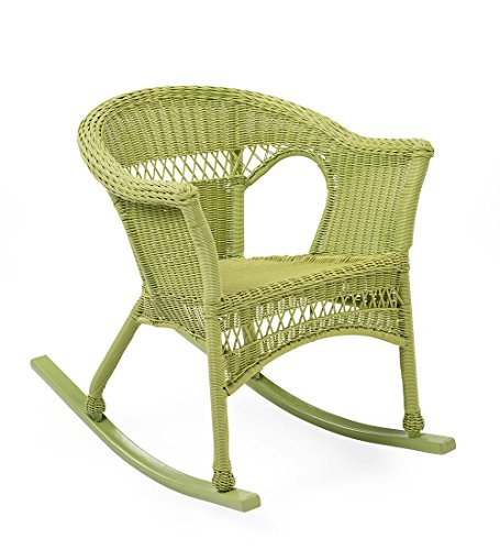 LIM Easy Care Outdoor Resin Wicker Rocker, Lime green (Green Outdoor Rocking Chair)