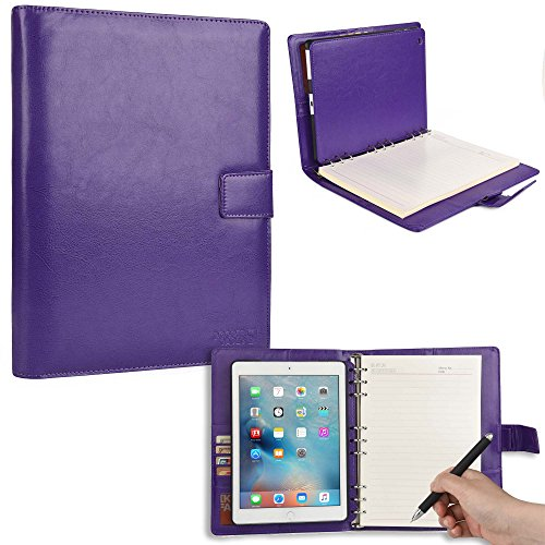 COOPER FOLDERTAB Padfolio Case compatible with iPad Air 1 | Business Executive Organizer with Notepad | Vegan Leather, Left & Right Handed Binder, Notebook Refill, Pockets | Apple A1474, A1475, Purple