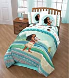4 Piece Girls Disney's Moana Movie Themed Comforter Twin Set, Cute Moana and Pua The Pig Fun Pattern, Natural Print, All Over Ocean Background, Pretty Character Palm Tree Reversible Bedding, Ployester