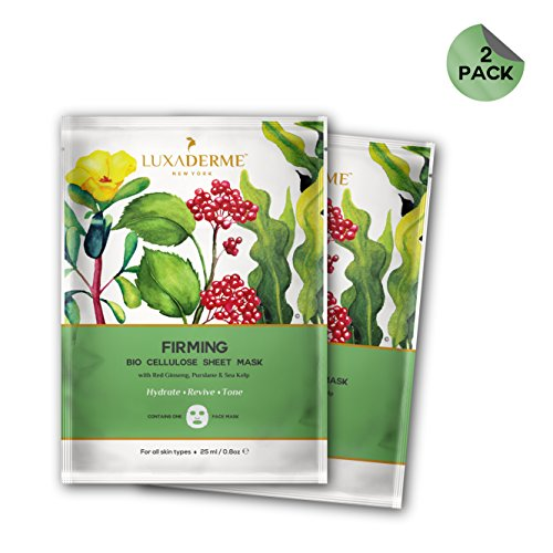 LuxaDerme Firming Bio Cellulose Face Sheet Mask Infused With