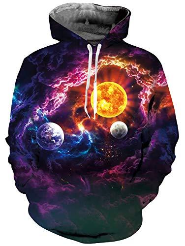 Fanient Unisex Realistic 3D Print Galaxy Pullover Hoodie Hooded Sweatshirt -