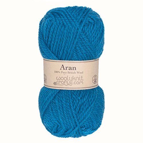 Yarn Gram Ball Wool 50 (Woolyknit Aran | 100% British Worsted Hand Knitting Wool Yarn 50g Balls (Turquoise))