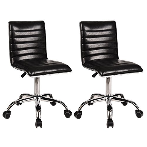 Desk Chair Swivel Home Office Task Chair Set of 2 Mid-back Support Ribbed Design Height Adjustable Counter Height Armless PU Leather Fabric Airlift Upholstery Computer Desk Chair With Wheels(Black) by YOURLITEAMZ