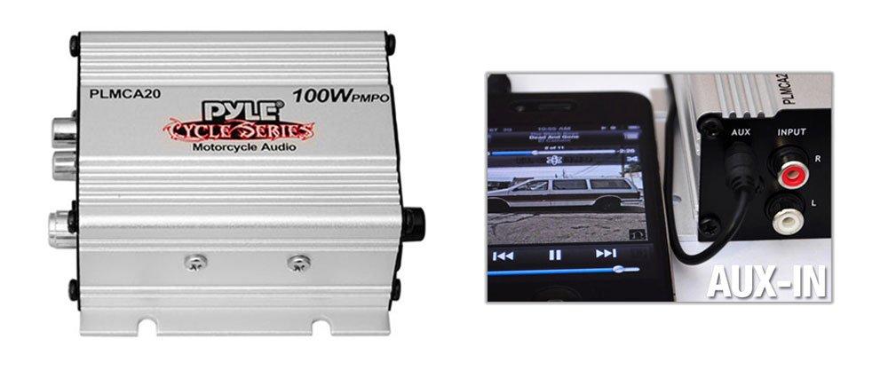 Syst/ème de son st/ér/éo avec deux haut-parleurs /étanches Enceintes pour Moto // Scooter // V/élo // Motoneige PYLE Se monte sur le guidon. Amplificateur iPod // MP3 de 100 watts