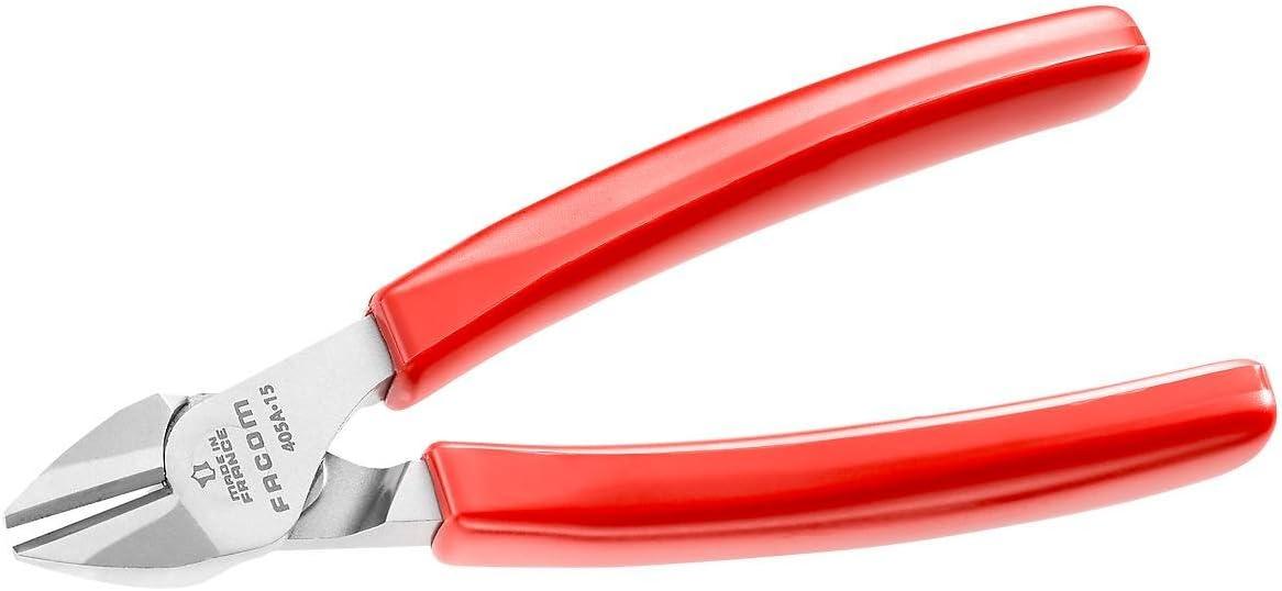 Facom 391A.16G Electricien Diagonale Bec effil/é Pince avec poign/ée en PVC sculpt/ée 160 mm Rouge