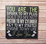 Mechanic Biker Love Sign 12x12'' Canvas Wall Decor Gift