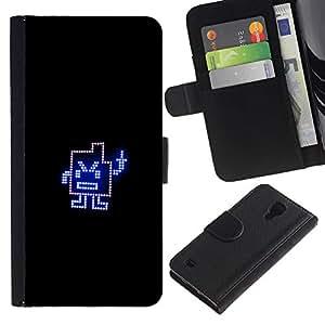 LECELL--Cuero de la tarjeta la carpeta del tirón Smartphone Slots Protección Holder For Samsung Galaxy S4 IV I9500 -- Dedo medio divertido --