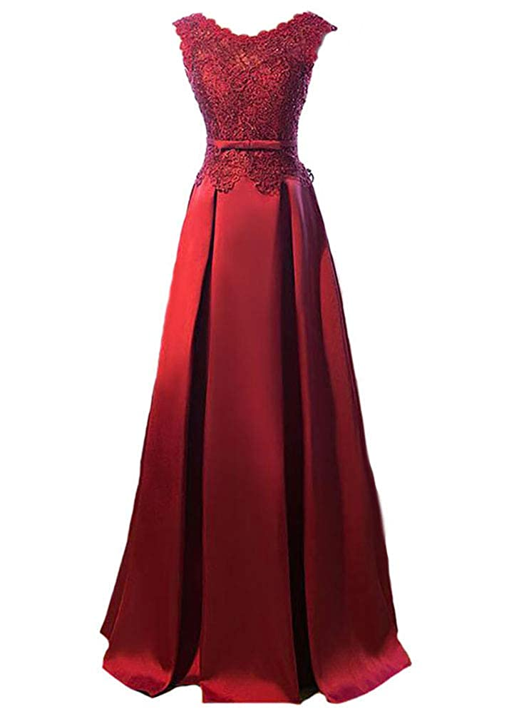 Burgundy Baixia Womens Lace Embroidery Illusion Satin Evening Party Long Prom Dress