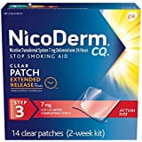 NicoDerm CQ Stop Smoking Aid 7 milligram Clear Nicotine Patches for Quitting Smoking, Step 3, 14 Count by NicoDerm CQ