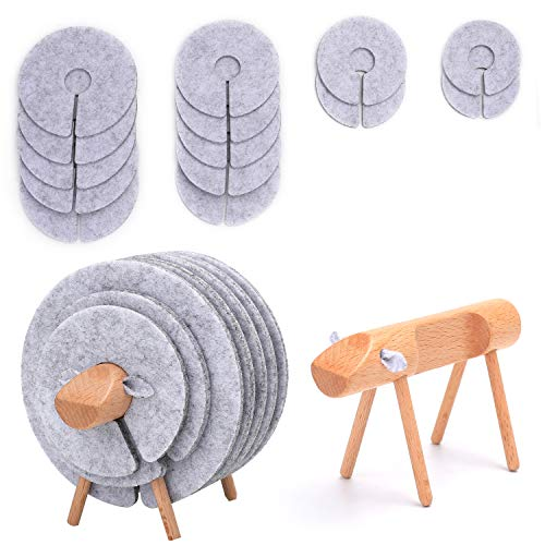 (Coasters for Drinks | Absorbent Set of 14 PCS |Funny Felt Cups Mugs Mats with Sheep Shaped Wood Holder | Decoration for Car Restaurant Home Office Bar | Housewarming Gifts (SHEEP))
