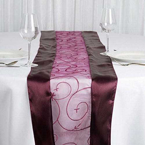 BalsaCircle 14 x 108-Inch Eggplant Purple Satin Edges and Embroidered Organza Table Top Runner - Wedding Party Linens Decorations
