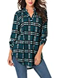 St. Jubileens Women Roll-Up 3/4 Sleeve Plaid Shirt Tunic V Neck Casual Pullover Blouses Tops Large Dark Green
