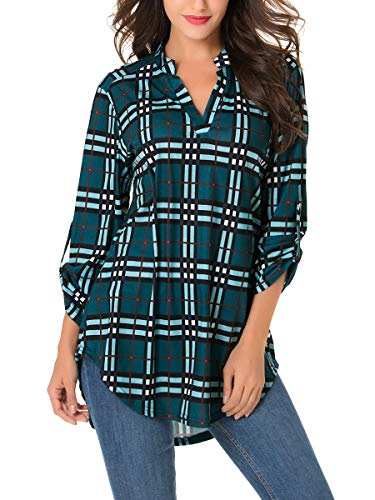 St. Jubileens Women Roll-Up 3/4 Sleeve Plaid Shirt Tunic V Neck Casual Pullover Blouses Tops Medium Dark Green