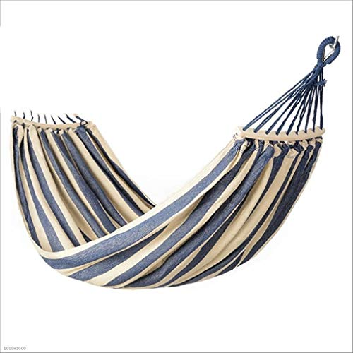 Swing Outdoor Bars - JGWHW Cotton Double Hammock Swing - Indoor Outdoor 2 Person Hammock with Spreader Bar, Portable Camping Hammock for Backyard Porch Traveling Tree Beach (Color : Blue and White Stripes)