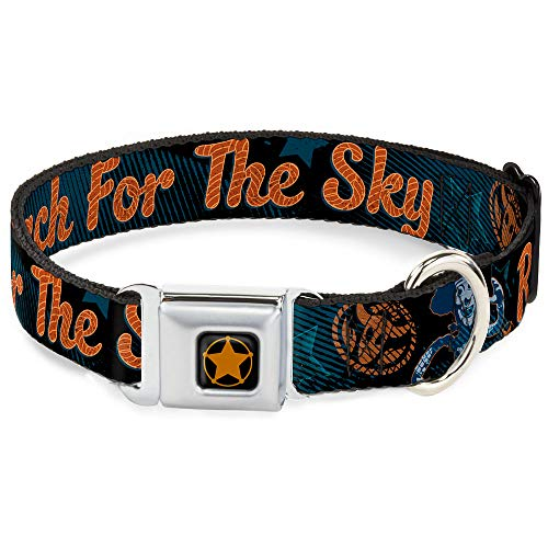 Buckle Denim - Dog Collar Seatbelt Buckle Woody Reach for The Sky Denim Blue Print 11 to 17 Inches 1.0 Inch Wide