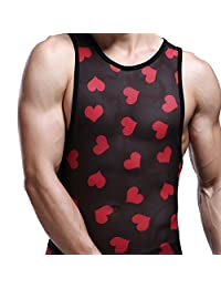 JJ Store Men Mesh See Through Clubwear Tank Top Vest T-Shirt Breathable Clothing