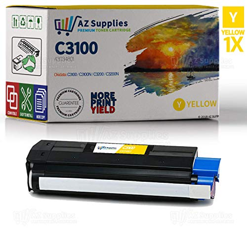 C3100 Yellow Toner - AZ Supplies Compatible Replacement Laser Toner Cartridge for Oki-Okidata C3100-C3200 Yellow for use in Oki-Okidata C3100N,C3200N,C5100, C5100N,C5150,C5150N,C5200,C5200N,C5300,C5300N, NMFP Series.