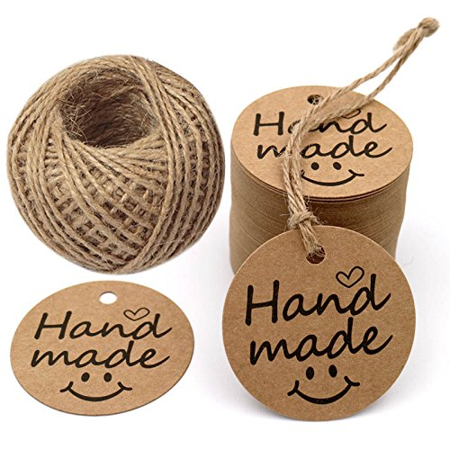 G2PLUS Hand Made Tags, 100 PCS Kraft Paper Gift Tags Round Tags with 100 Feet Natural Jute Twine (Brown)