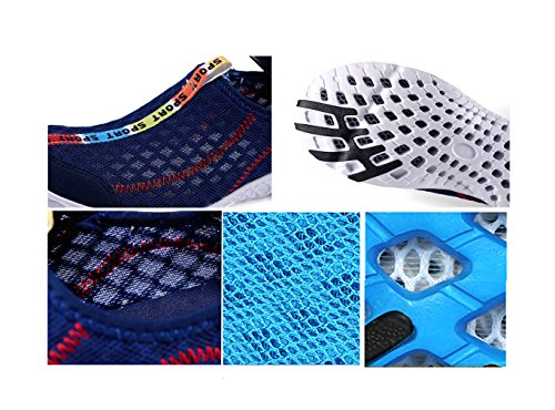 Lightweight Drying Blue Walking Sneakers Water Aqua Mesh XMeden Women's Slip Quick On Shoes zTwHx