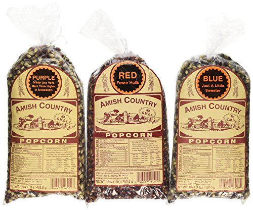 Amish Country Popcorn 3 Bags 1 Pound each, Purple, Blue, Red