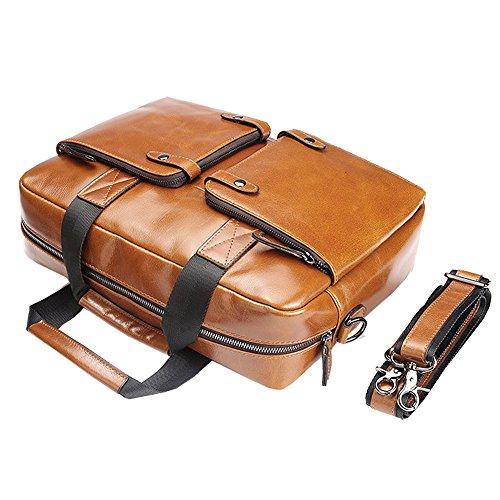Othilar Damen Herren braun Leder Tasche Umhängetasche Aktentasche Schultertasche für Reise Uni