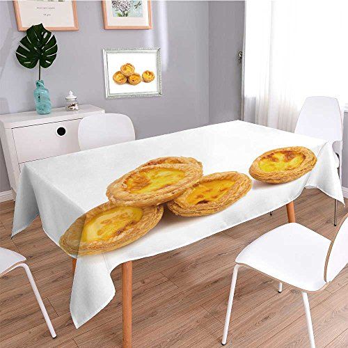 SOCOMIMI Print Tablecloth Rectangular,egg tarts isolated on white background,Indoor Outdoor Oblong Dining Room Table
