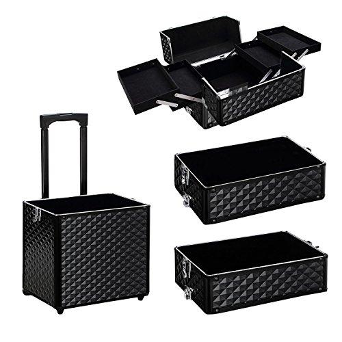 Qivange Makeup Train Case,4 in 1 Professional Rolling Makeup Trolley Case Aluminum Artists Jewelry Cosmetic Storage Case/w 2 Wheels(Diamond Black) by Qivange (Image #4)
