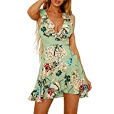 Dresses for Women Work Casual,Summer Dresses for Women,Women's Dresses Spaghetti Strap Floral Print A Line Mini Dress Green
