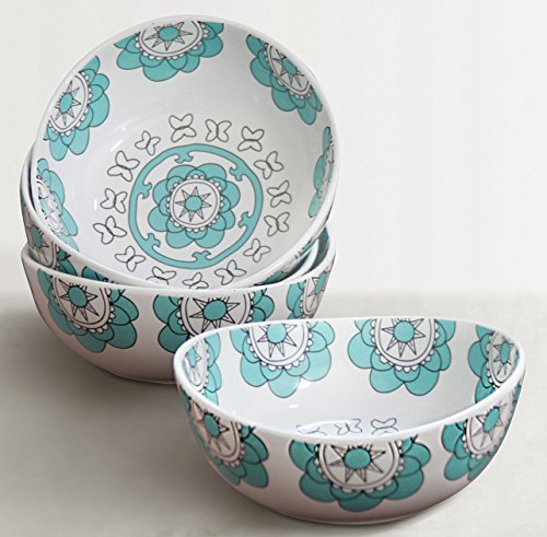 Porcelain Bowl Set 4 for Soup Cereal Salad, 20 Ounce Each, Hand Made Mint Blue