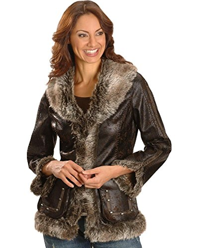 - Scully Women's Faux Leather And Fur Jacket Dark Brown Medium