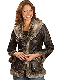 Women's Faux Leather and Fur Jacket - 8013