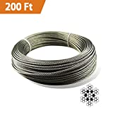 Bysn 1/8 Stainless Steel Cable Aircraft Wire Rope for Deck Cable Railing Kit,7x7 200Feet T316 Marin Grade