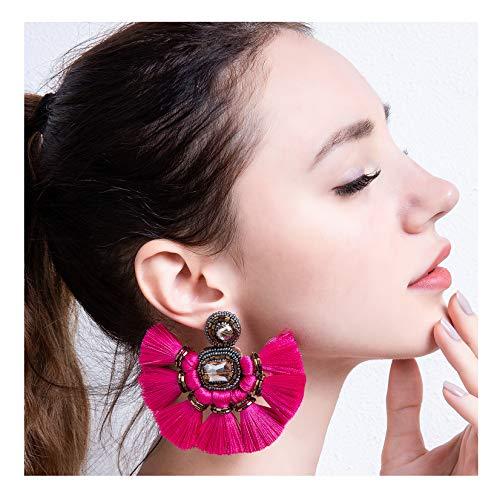 Yarn Fuchsia Plum - Fuchsia Fan Tassel Earrings Hoop Drop Dangle Earrings For Women Fashion Bohemian Statement Handmade Beaded Big Earrings Fanned Round Large Hanging Wedding Boho Fringe Tassel Earrings Red