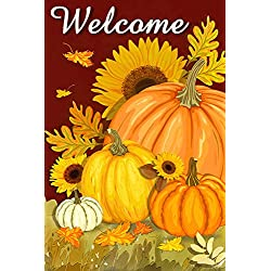 LHSION Pumpkin Garden Flag 12.5 x 18 - Welcome Fall Garden Flag Sunflowers Autumn Decorative House Yard Double Sided Flag for Indoor & Outdoor Decoration