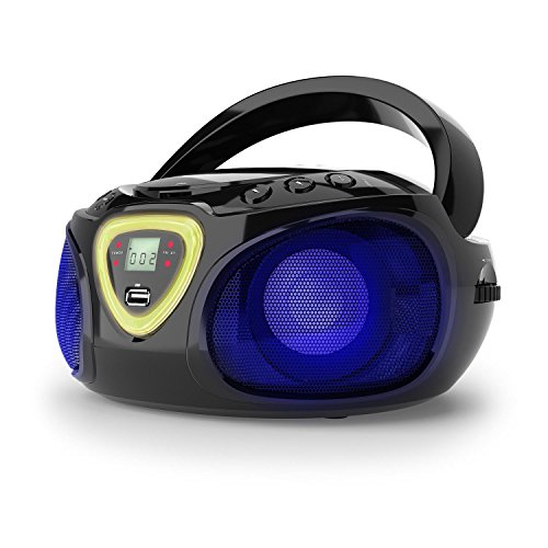 auna Roadie • Portable Boombox with CD Player and Radio • LED Light • AM/FM Radio • Bluetooth • MP3/CD Player • Aux-Input • Headphone Jack • Black