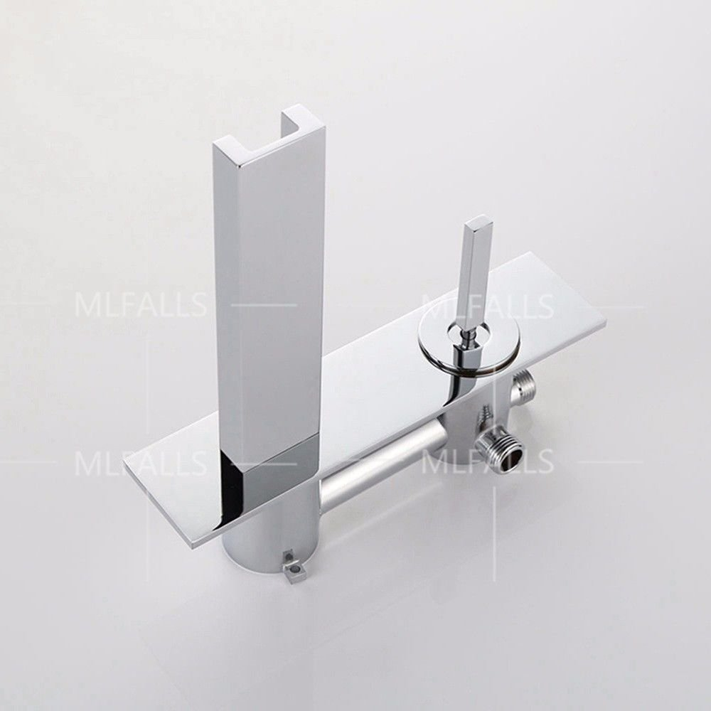 Lpophy Bathroom Sink Mixer Taps Faucet Bath Waterfall Waterfall Waterfall Cold And Hot Water Tap For Washroom Bathroom And Kitchen Modern Chrome-Plated Led Wall-Mounted Waterfall Hot And Cold Water Ceramic Valve Double Hole Single Handle 2cc3d6